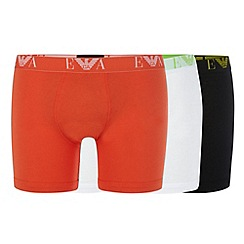 Emporio Armani - Pack of three white, black and orange boxer briefs