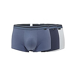 Sloggi - Pack of three blue, mid blue and navy hipster trunks
