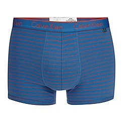 Calvin Klein Underwear - Blue fine striped cotton stretch trunks