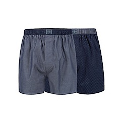 J by Jasper Conran - Designer pack of two navy spotted cotton boxers