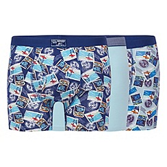 Mantaray - Pack of three blue postcard print trunks