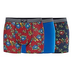 Mantaray - Pack of three navy, blue and red tropical print hipster trunks