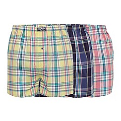 Mantaray - Pack of three navy, yellow and pink pastel checked boxers