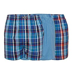 Mantaray - Pack of three blue bold checked and striped boxers