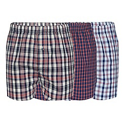 Thomas Nash - Pack of three dark peach woven checked boxers