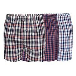 Thomas Nash - Pack of three dark peach woven checked boxers