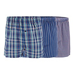 Thomas Nash - Pack of three blue woven boxers