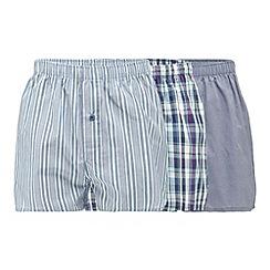 Thomas Nash - Pack of three blue woven print boxers