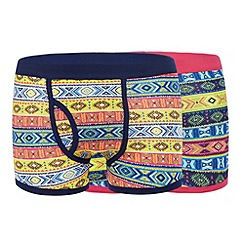 Red Herring - Pack of two pink aztec print cotton stretch trunks