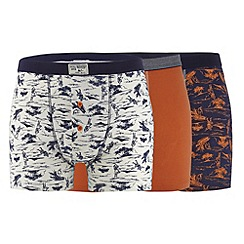 Mantaray - Pack of three orange island print button boxers