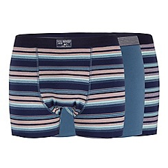 Mantaray - Pack of three blue ombre striped hipster trunks