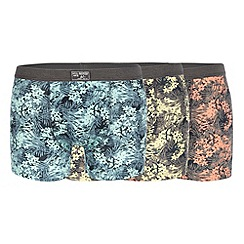Mantaray - Pack of three orange floral print hipster trunks