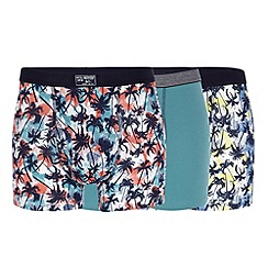 Mantaray - Pack of three navy palm tree print keyhole trunks