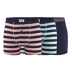 Mantaray - Pack of three navy striped button boxers