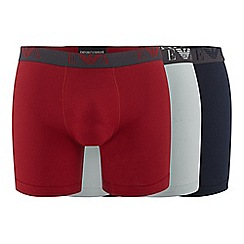Emporio Armani - Pack of three red, navy and grey cotton boxer shorts