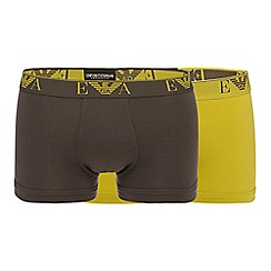 Emporio Armani - Pack of two lime stretch cotton trunks