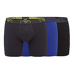 Emporio Armani - Pack of three blue, black and dark grey cotton boxer briefs