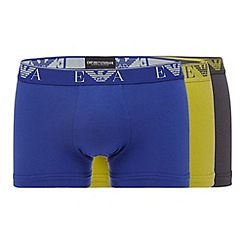 Emporio Armani - Pack of three lime, grey and blue plain trunks