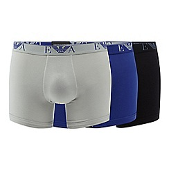 Emporio Armani - Pack of three blue cotton blend trunks