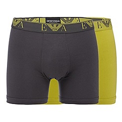 Emporio Armani - Pack of two lime and grey plain boxer briefs