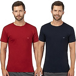 Emporio Armani - Pack of two red and navy cotton t-shirts