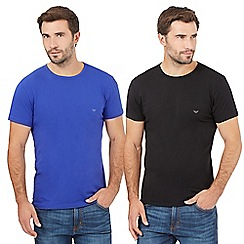 Emporio Armani - Pack of two blue cotton crew neck t-shirts