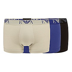 Emporio Armani - Pack of three navy stretch cotton trunks