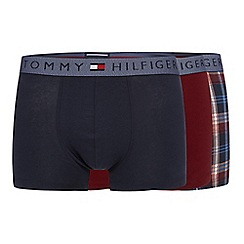 Tommy Hilfiger - Pack of three navy and dark red plain and checked hipster trunks