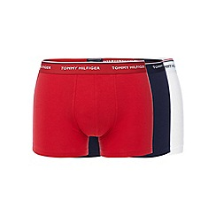 Tommy Hilfiger - Pack of three red, white and navy hipster trunks