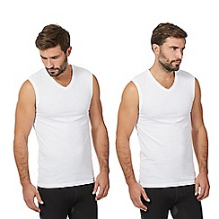 The Collection - Big and tall pack of two white v neck vests