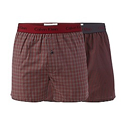Calvin Klein - Dark red checked and striped slim fit boxer shorts in a gift box