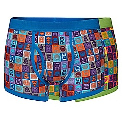 Red Herring - Pack of two blue and green pop art animal print trunks