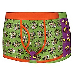 Red Herring - Pack of two green donkey and purple chilli printed trunks