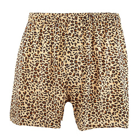Thomas Nash - Gold leopard print silk boxer shorts