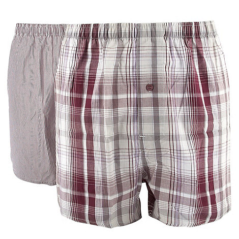 Thomas Nash - Purple pack of two stripe and check boxer shorts