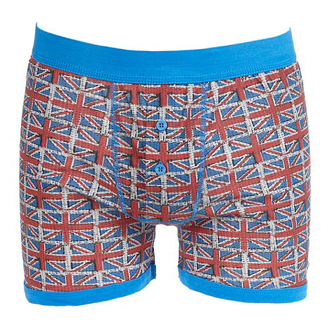 Red Herring - Blue +Union Jack+ button boxers