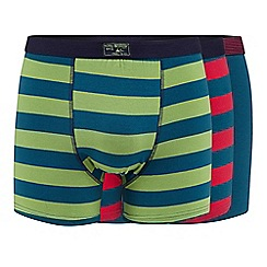 Mantaray - Big and tall pack of three blue striped hipster trunks