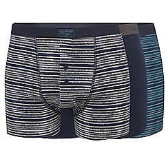 Mantaray - Pack of three navy, green and natural striped button boxers