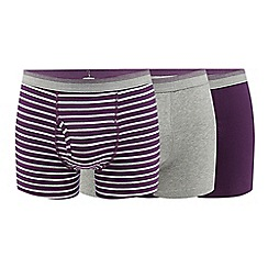 The Collection - Pack of three purple cotton blend keyhole trunks