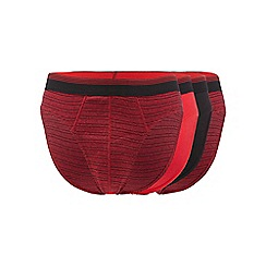 The Collection - Big and tall pack of four red plain and striped slip briefs