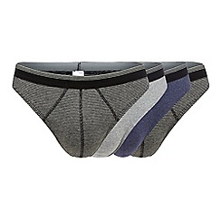 The Collection - Pack of four grey striped thongs