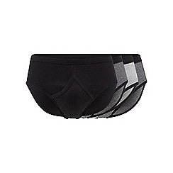 The Collection - Big and tall pack of four grey and black striped and plain briefs
