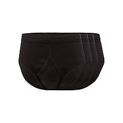 The Collection - Big and tall pack of four black cotton briefs