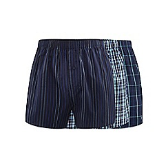 The Collection - Pack of three navy checked and striped woven boxer shorts