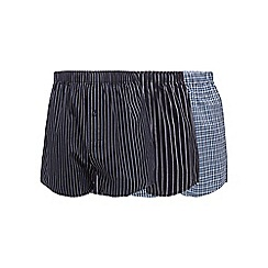 The Collection - Pack of three navy striped and checked woven boxers