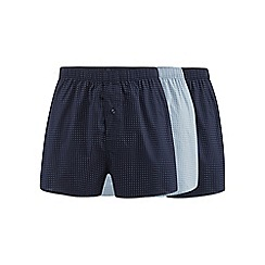 The Collection - Pack of three navy and blue mini square print woven boxer shorts