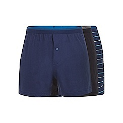 The Collection - Pack of three blue fine striped cotton button boxers