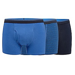 The Collection - Pack of three blue plain and fine striped trunks