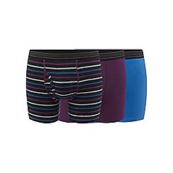 The Collection - Pack of three purple, blue and black striped trunks