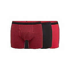 The Collection - Pack of three red plain and fine striped trunks